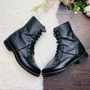 Justin Black Duralit Leather Combat Western Boots